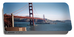 Golden Gate Bridge With Aircraft Carrier Portable Battery Charger