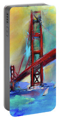 Portable Battery Charger featuring the painting Golden Gate Colors by Elise Palmigiani