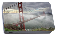 Portable Battery Charger featuring the photograph Golden Gate Fog by Suzanne Stout