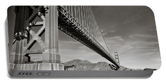 Golden Gate From The Water - Bw Portable Battery Charger by Darcy Michaelchuk