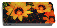 Portable Battery Charger featuring the photograph Golden Gazanias by Cassandra Buckley