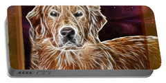 Portable Battery Charger featuring the photograph Golden Glowing Retriever by EricaMaxine  Price