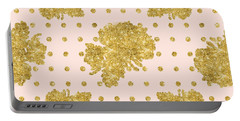 Golden Gold Blush Pink Floral Rose Cluster W Dot Bedding Home Decor Portable Battery Charger