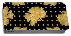Golden Gold Floral Rose Cluster W Dot Bedding Home Decor Art Portable Battery Charger
