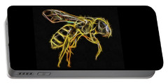 Golden Honey Bee Fractalized Portable Battery Charger