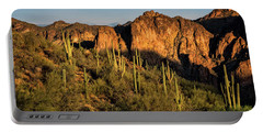 Portable Battery Charger featuring the photograph Golden Hour On Saguaro Hill  by Saija Lehtonen