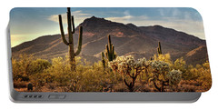 Portable Battery Charger featuring the photograph Golden Hour On Usery Mountain  by Saija Lehtonen