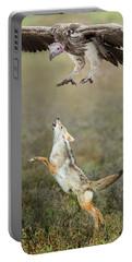 Golden Jackal, Canis Aureus, Leaping At Vulture Portable Battery Charger