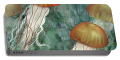 Golden Jellyfish In Green Sea Portable Battery Charger