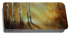 Golden Light In Autumn Woods Portable Battery Charger