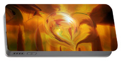 Portable Battery Charger featuring the digital art Golden Love by Linda Sannuti