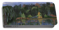 Portable Battery Charger featuring the painting Golden Pagoda by Jamie Frier