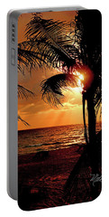 Golden Palm Sunrise Portable Battery Charger by Meta Gatschenberger