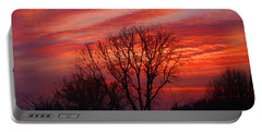 Golden Pink Sunset With Trees Portable Battery Charger