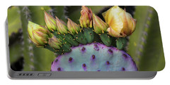 Portable Battery Charger featuring the photograph Golden Prickly Pear Buds  by Saija Lehtonen