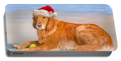 Portable Battery Charger featuring the painting Golden Retreiver Holiday Card by Karen Zuk Rosenblatt