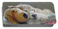 Golden Retriever Dog Sleeping With My Friend Portable Battery Charger