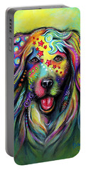 Portable Battery Charger featuring the pastel Golden Retriever by Patricia Lintner