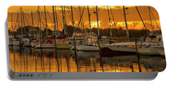 Golden Sailboat Sunrise Over Stuart Marina, Florida Portable Battery Charger
