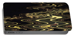Portable Battery Charger featuring the digital art Golden Shimmers On A Dark Sea by Gina Harrison