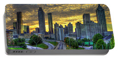 Portable Battery Charger featuring the photograph Golden Skies Atlanta Downtown Sunset Cityscape Art by Reid Callaway