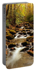 Portable Battery Charger featuring the photograph Golden Stream In The Great Smoky Mountains by Debbie Green