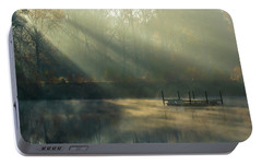 Portable Battery Charger featuring the photograph Golden Sun Rays by George Randy Bass
