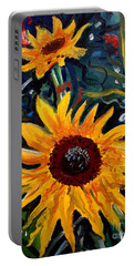 Golden Sunflower Burst Portable Battery Charger