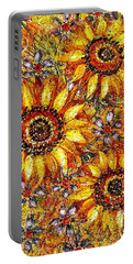 Portable Battery Charger featuring the painting Golden Sunflower by Natalie Holland