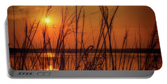 Golden Sunset At The Lake Portable Battery Charger