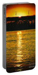 Portable Battery Charger featuring the photograph Golden Sunset Behind Bridge by Mariola Bitner