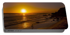 Portable Battery Charger featuring the photograph Golden Sunset Walk On Malibu Beach by Jerry Cowart