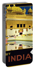 Golden Temple Amritsar India - Vintage Travel Advertising Poster Portable Battery Charger