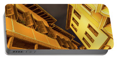 Golden Yellow Night - Chic Zigzags Of Oriel Windows And Serrated Roof Lines Portable Battery Charger