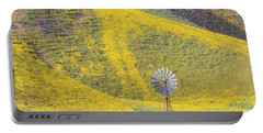 Goldfields And Windmill At Carrizo Plain  Portable Battery Charger