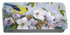 Goldfinch And Crabapple Blossoms Portable Battery Charger