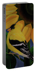 Goldfinch And Sunflower Portable Battery Charger