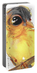Portable Battery Charger featuring the painting Goldfinch by Dawn Derman