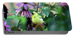Goldfinch On Coneflowers Portable Battery Charger
