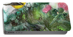 Portable Battery Charger featuring the painting Goldfinch by Sherry Shipley