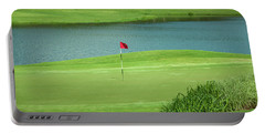 Golf Approaching The Green Portable Battery Charger by Chris Flees