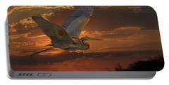 Goliath Heron At Sunset Portable Battery Charger