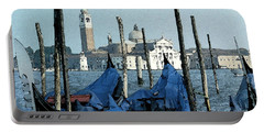 Portable Battery Charger featuring the digital art Gondolas Across San Giorgio by Donna Corless
