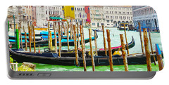 Gondolas On The Grand Canal Venice Italy Portable Battery Charger