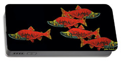 Portable Battery Charger featuring the painting Gone Fishing by Debbie Chamberlin