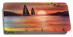 Portable Battery Charger featuring the painting Good Eveving by Denise Tomasura