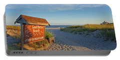 Good Harbor Sign At Sunset Portable Battery Charger