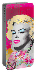 Portable Battery Charger featuring the digital art Goodbye Norma Jean  by Eleni Mac Synodinos