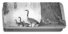 Goose Family  Portable Battery Charger by Clarice Lakota