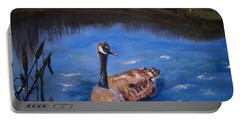 Portable Battery Charger featuring the painting Goose by Leslie Allen